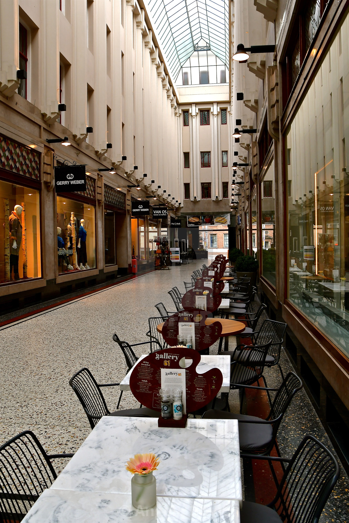 """A cafe in The passage - Den Haag"" stock image"
