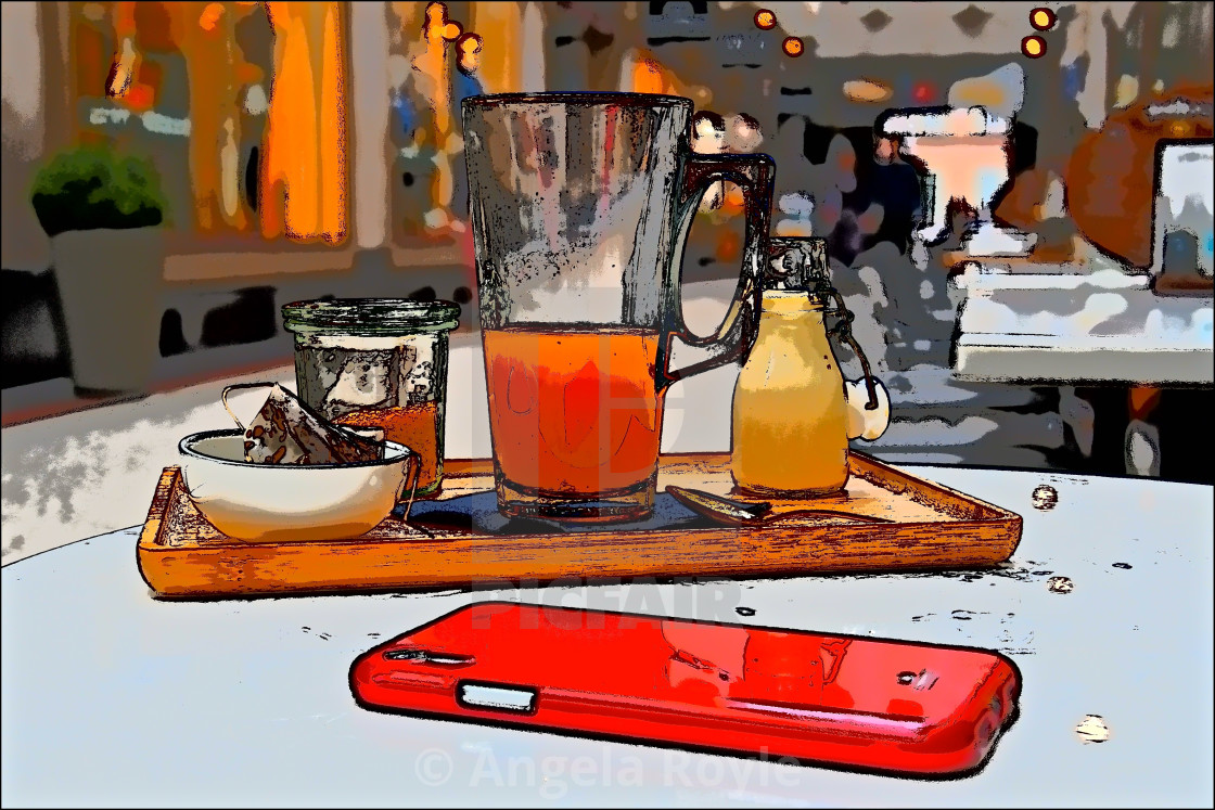 """Pop art still life of a tea tray"" stock image"