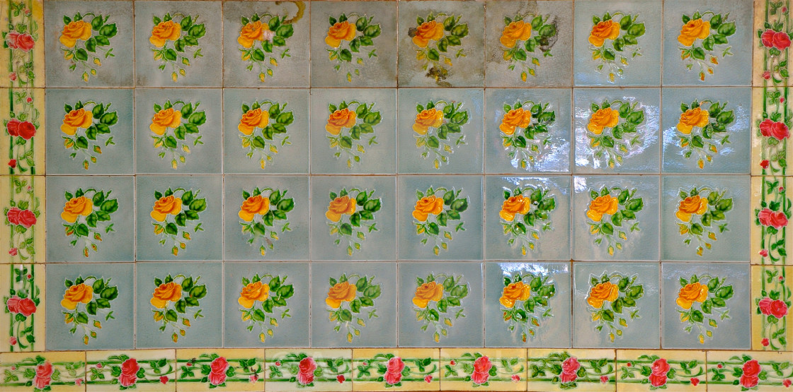 """Blue Pernanakan tiles with yellow roses"" stock image"