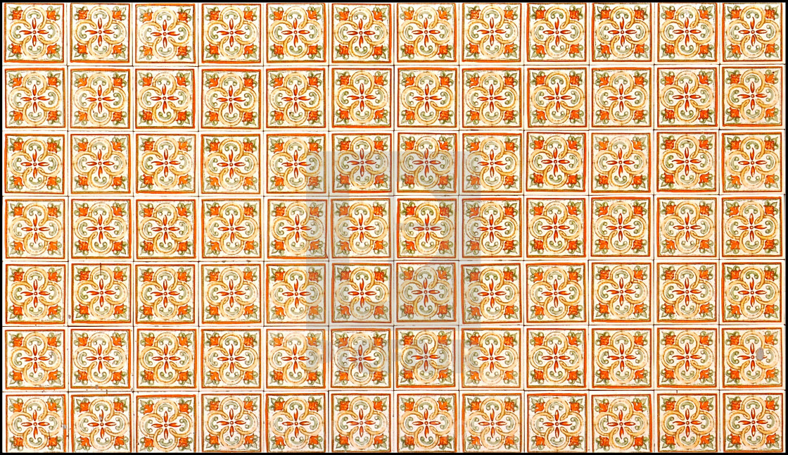 """Green and orange floral tile mosaic"" stock image"