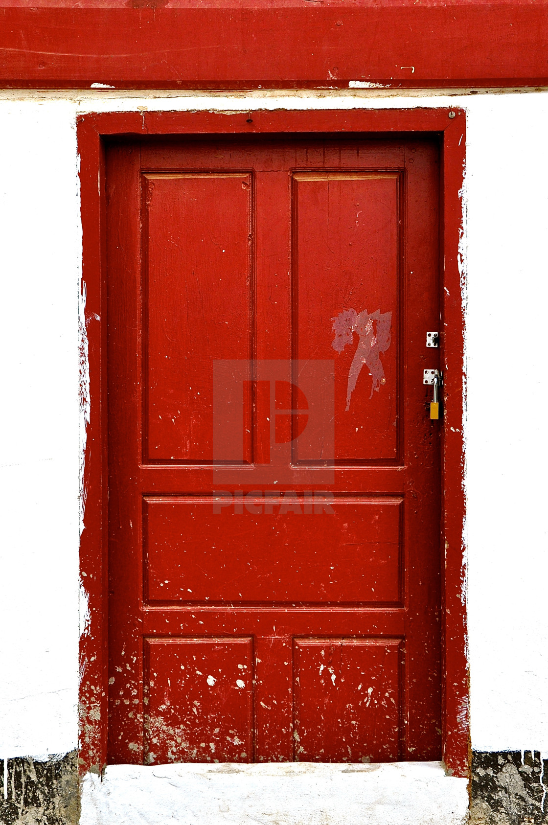 """Rustic red wooden door."" stock image"