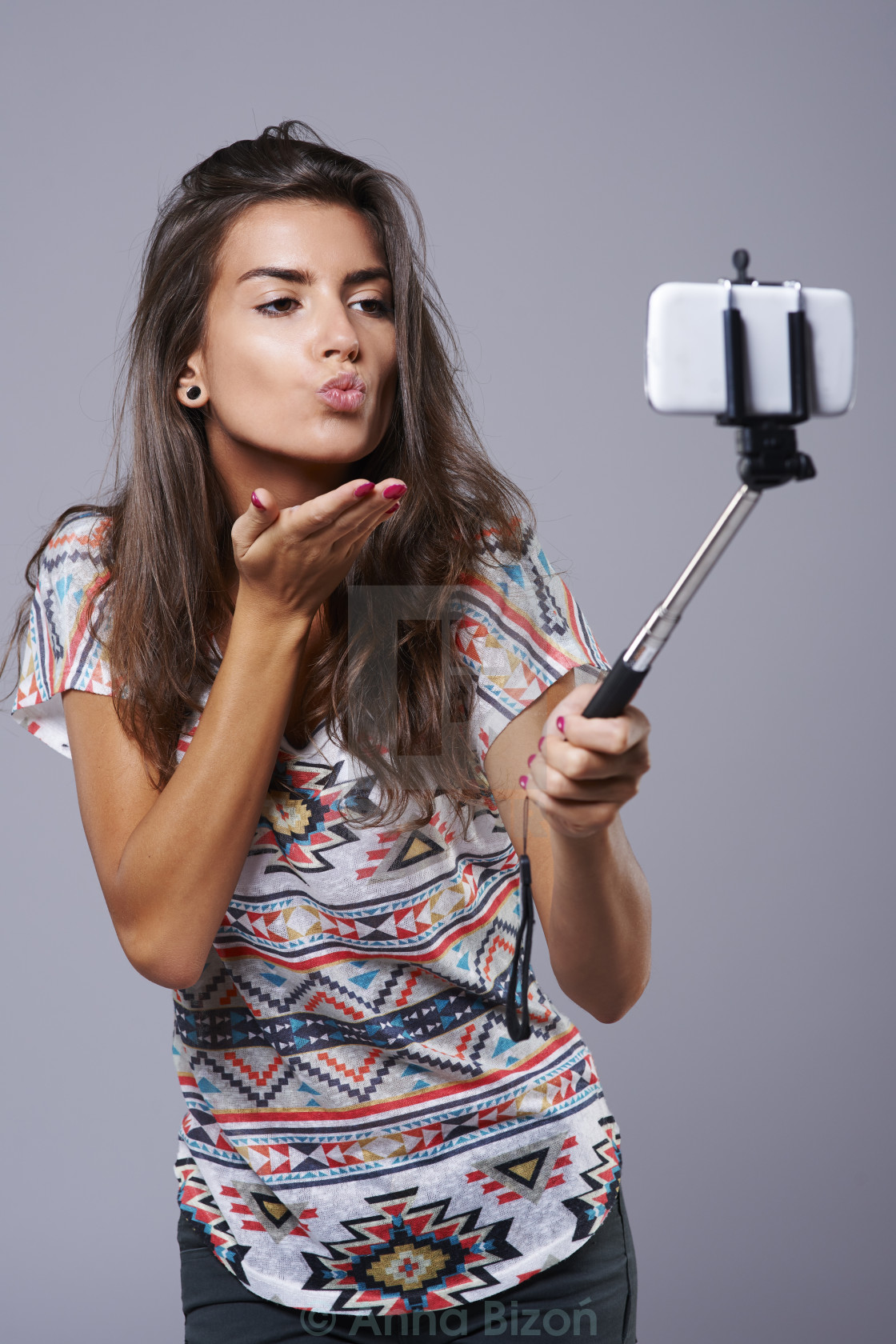 """""""Selfie stick as a very helpful device."""" stock image"""