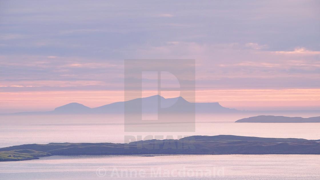 """""""Sunset Over Foula, Shetland."""" stock image"""