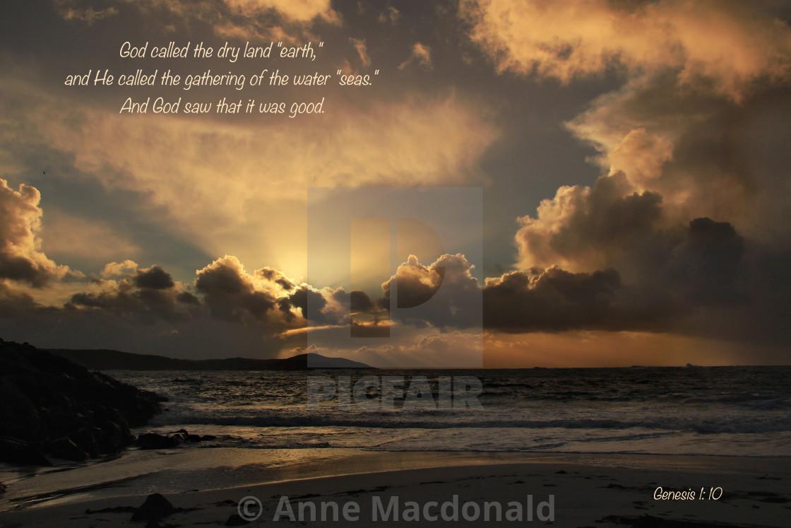 """Sun Rays Beach Image With Christian Verse"" stock image"
