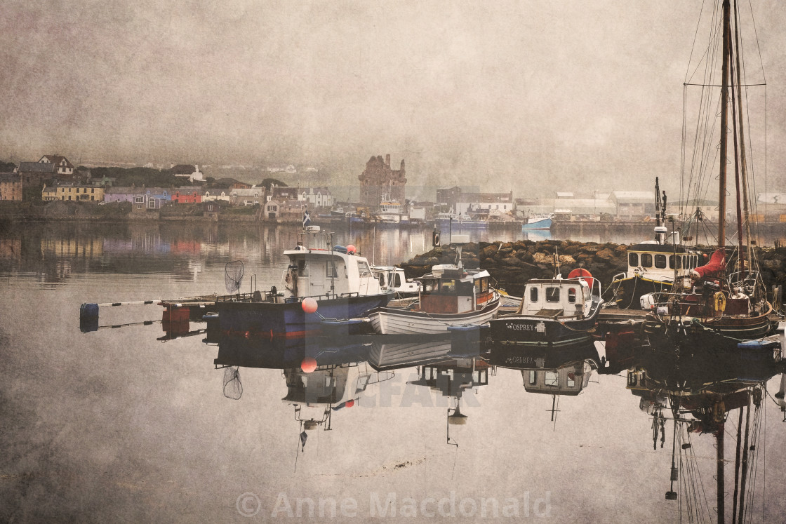 """Scalloway Waterfront In The Mist"" stock image"