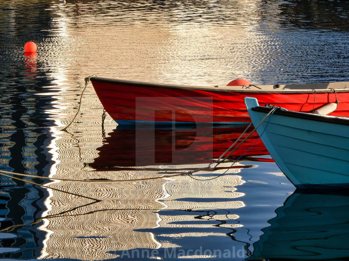 """Small Boat Reflections At Lerwick Museum, Shetland."" stock image"