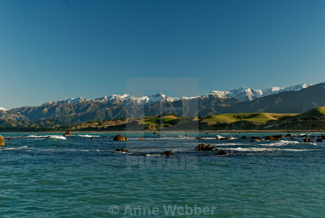 Snow Capped Mountains In Kaikoura New Zealand License