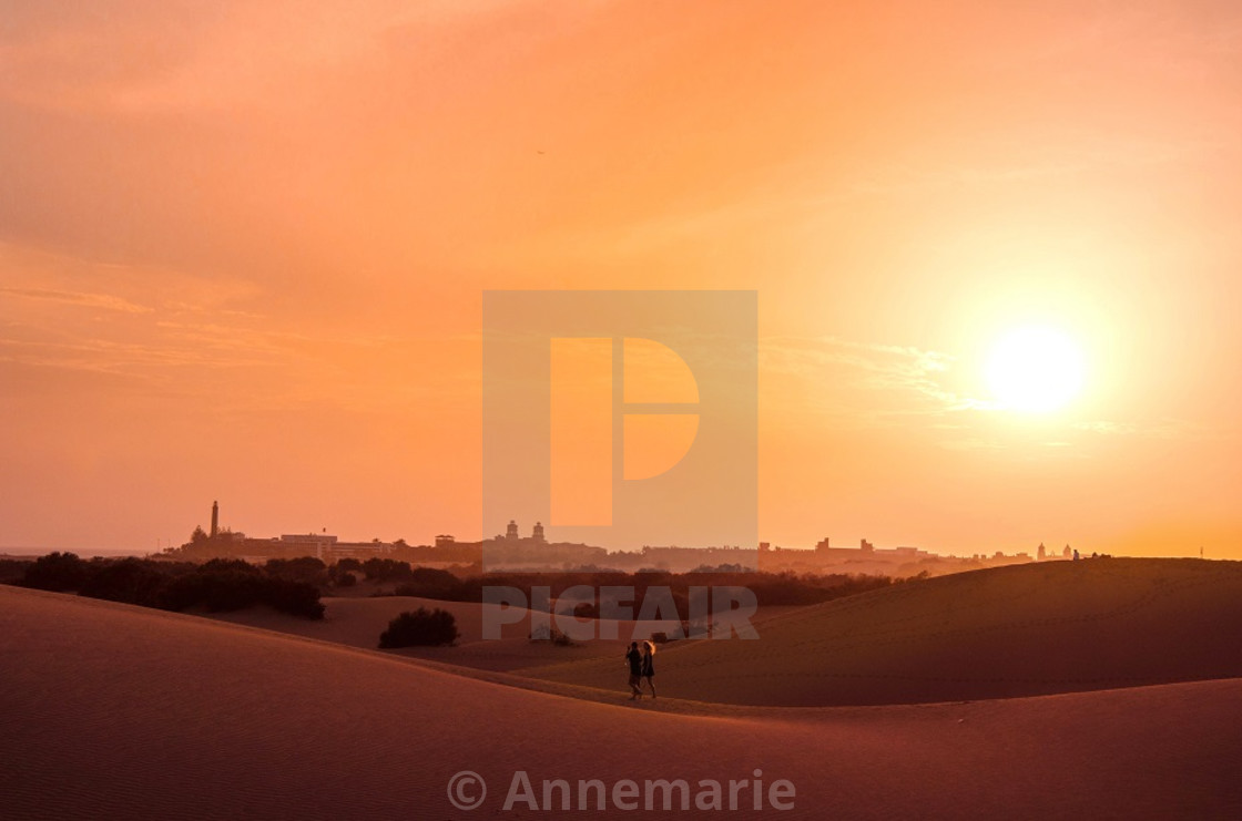 """Gran Canaria sunset over dunes"" stock image"