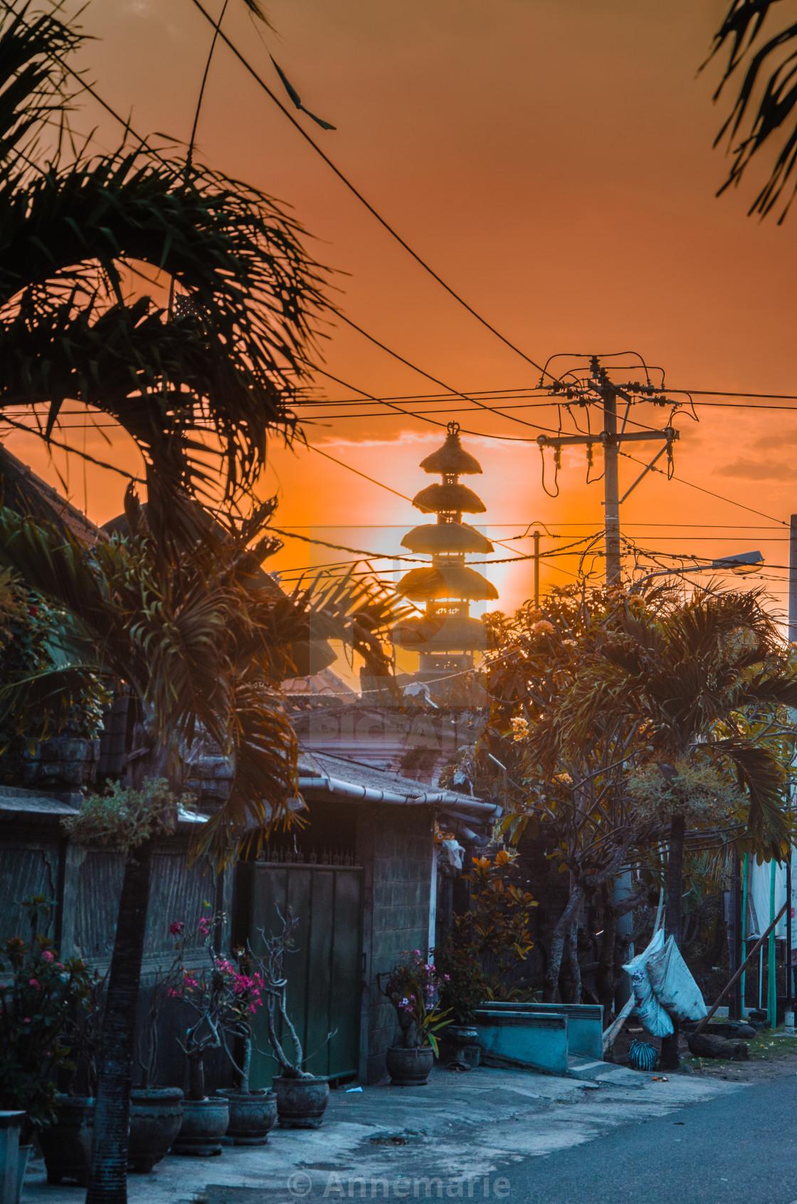 """Village in Bali at Sunset"" stock image"