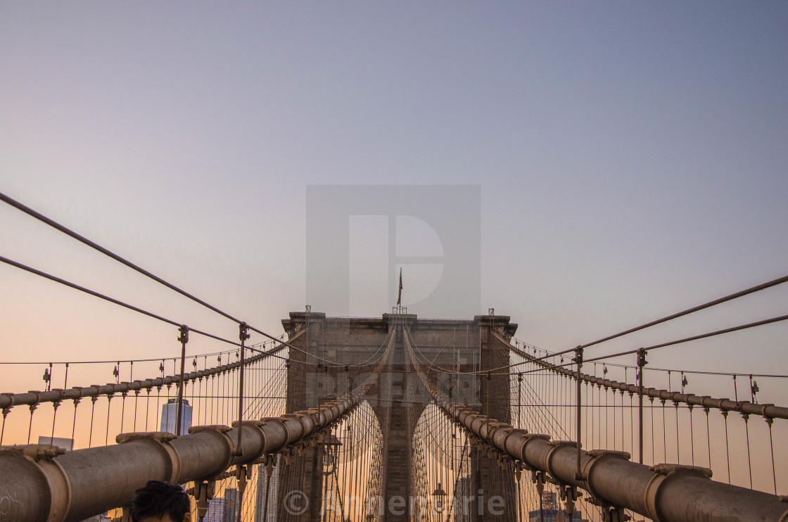 """Brooklyn Bridge at sunset"" stock image"