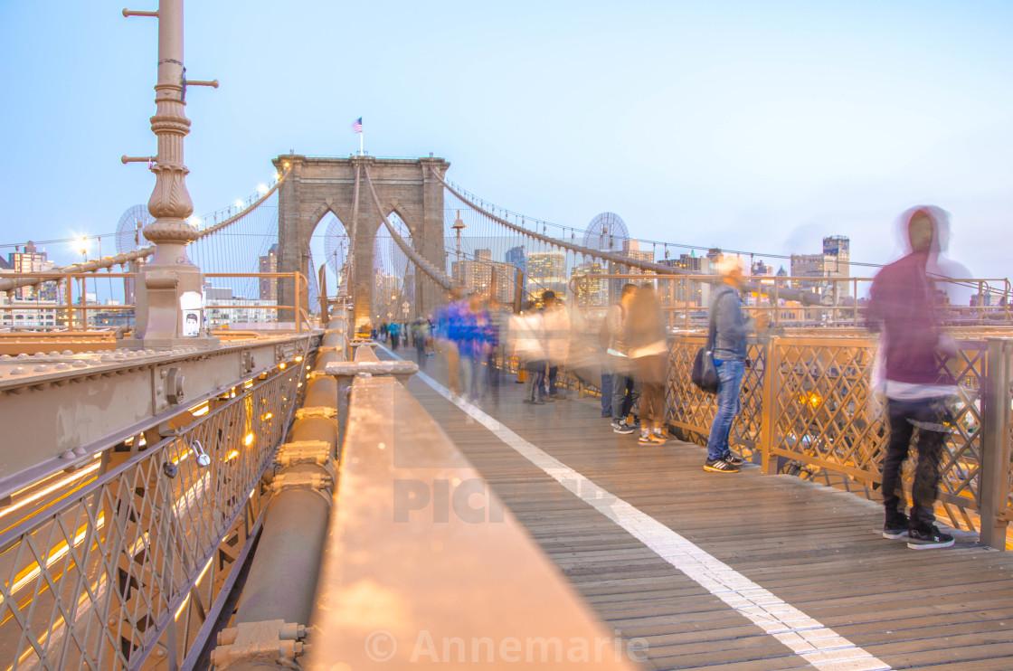 """""""Brooklyn Bridge at dusk"""" stock image"""