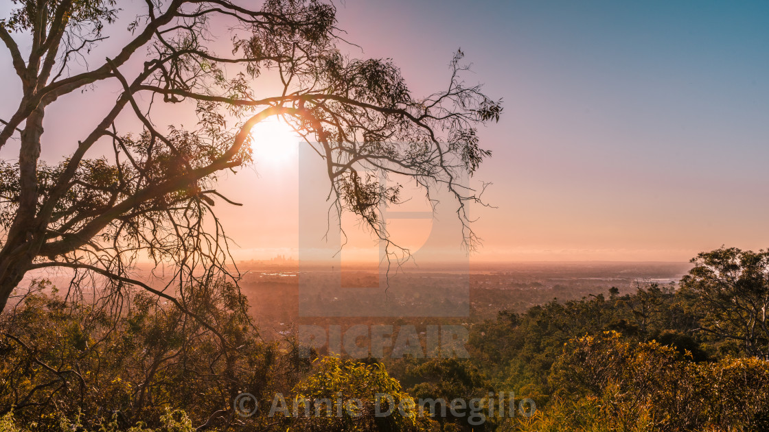 """Perth City View from the Hills"" stock image"