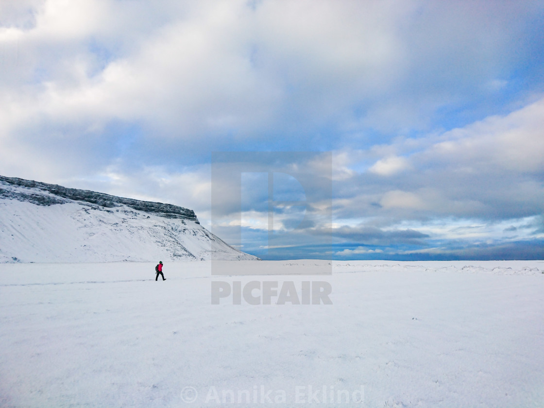 """Hiking in Snow"" stock image"