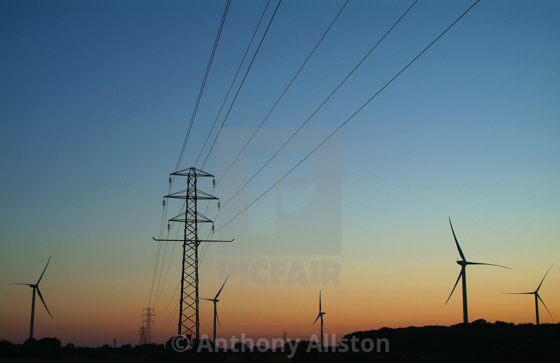 """""""Windfarms at sunset"""" stock image"""