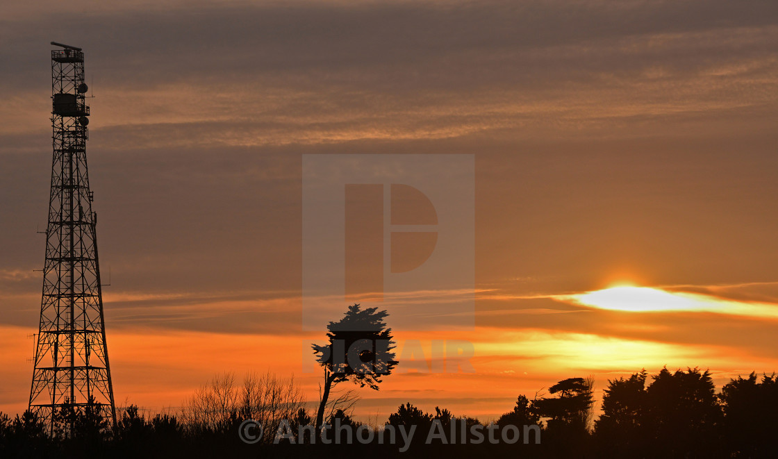 """Pylon at sunset"" stock image"