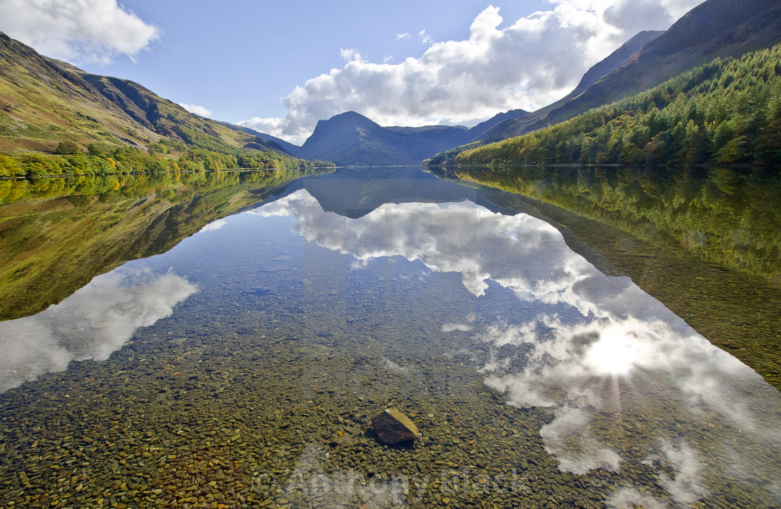 """Buttermere reflection"" stock image"