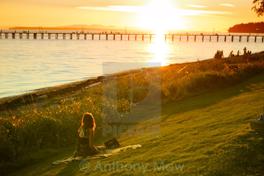 """White Rock Beach Girl Sunset"" stock image"