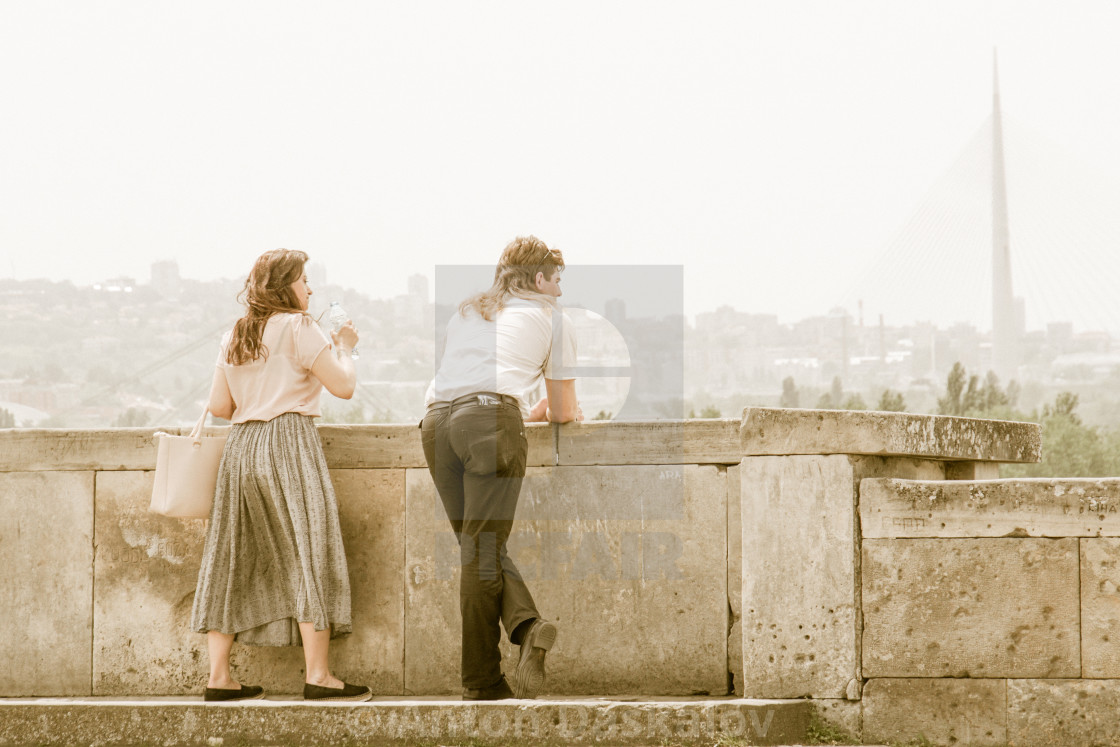 """""""Old fashioned style couple in Belgrade"""" stock image"""