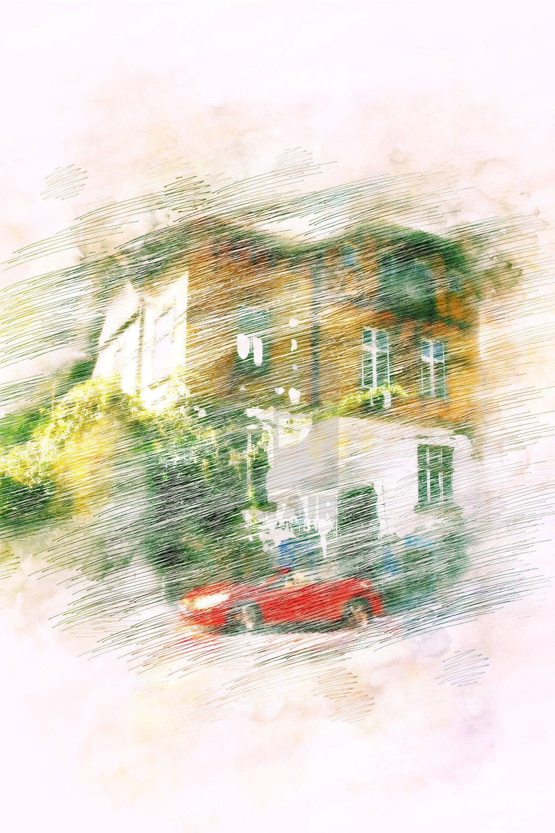 """""""Color graphic of old house with parked red car on a small central street in Sofia, Bulgaria"""" stock image"""