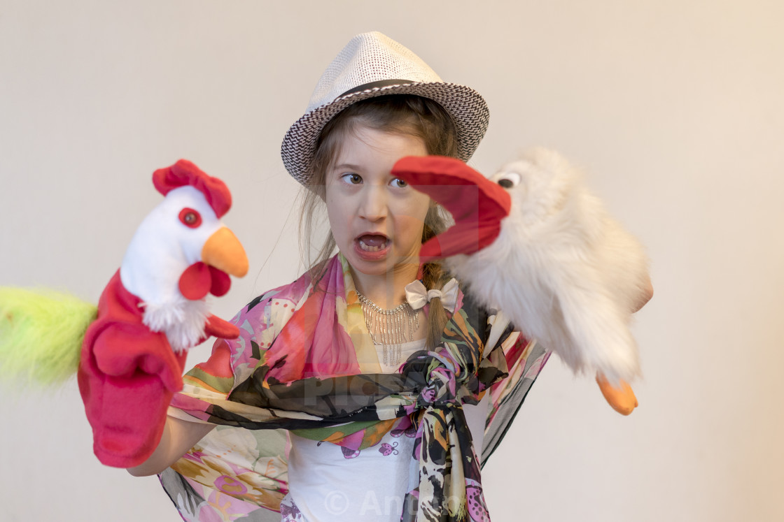 """""""Happy child, creative fun concept - girl playing in the theater"""" stock image"""
