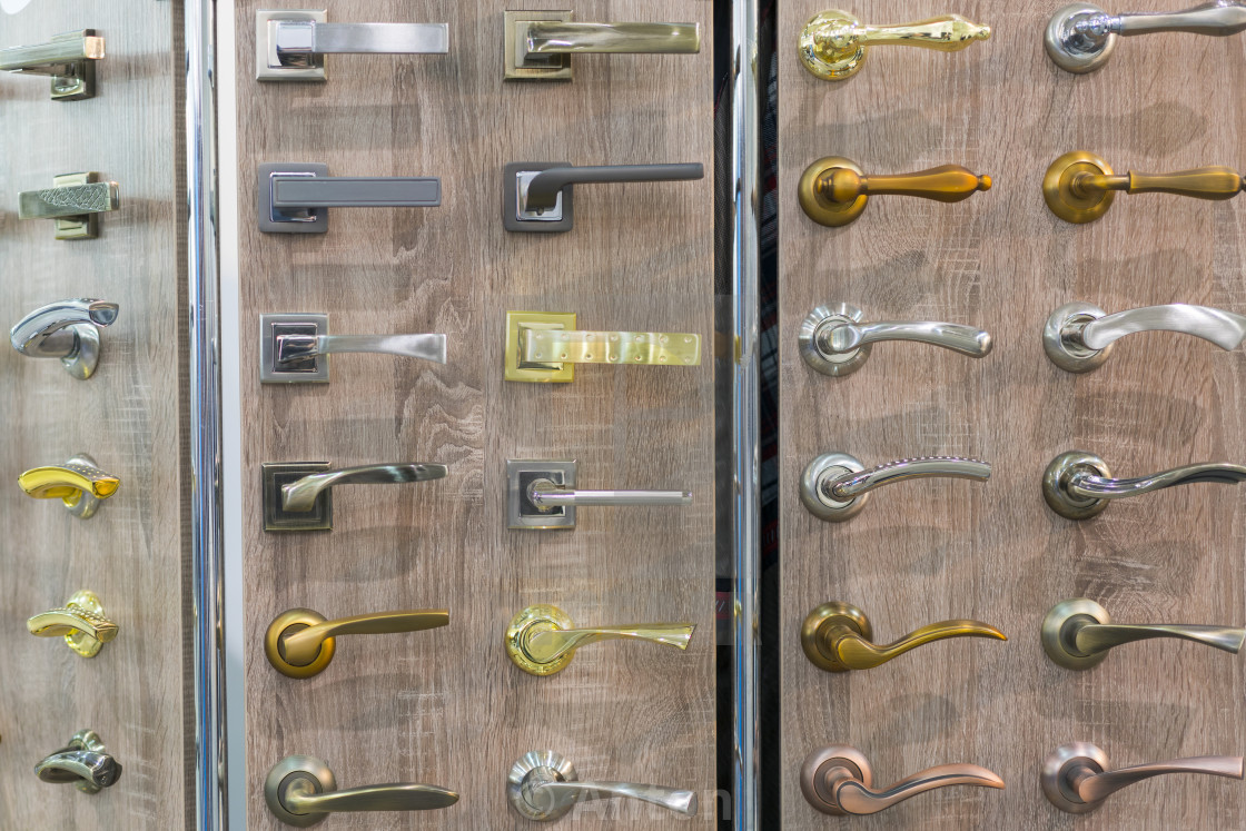"""Set of various door handles"" stock image"