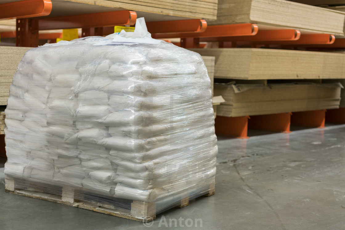 Bags Of Cement On A Pallet In A Hardware Store Bags Of Flour At The