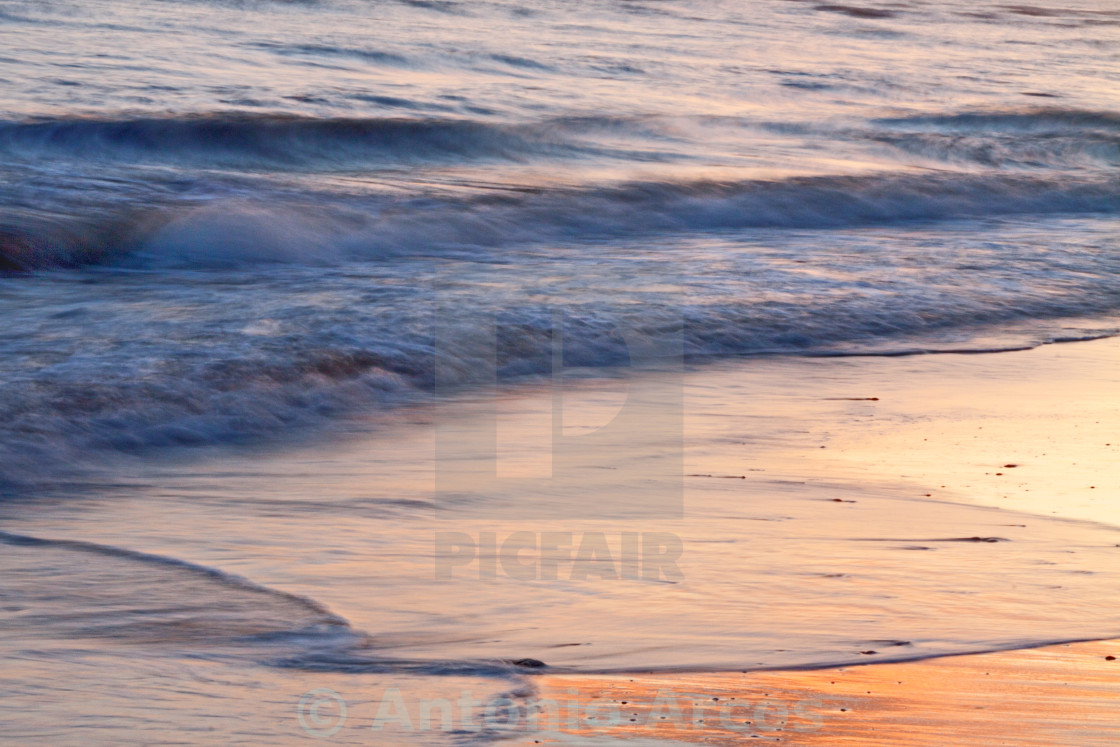 """Golden Light And Silky Waves"" stock image"