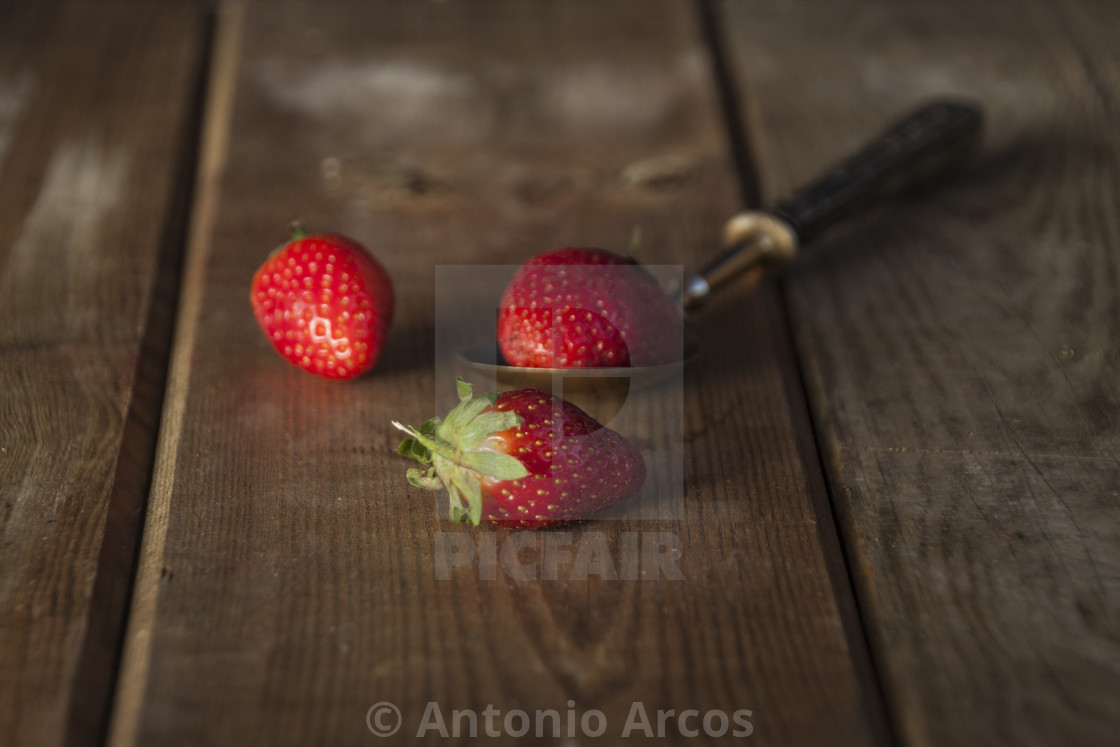 """Strawberries On Wood"" stock image"