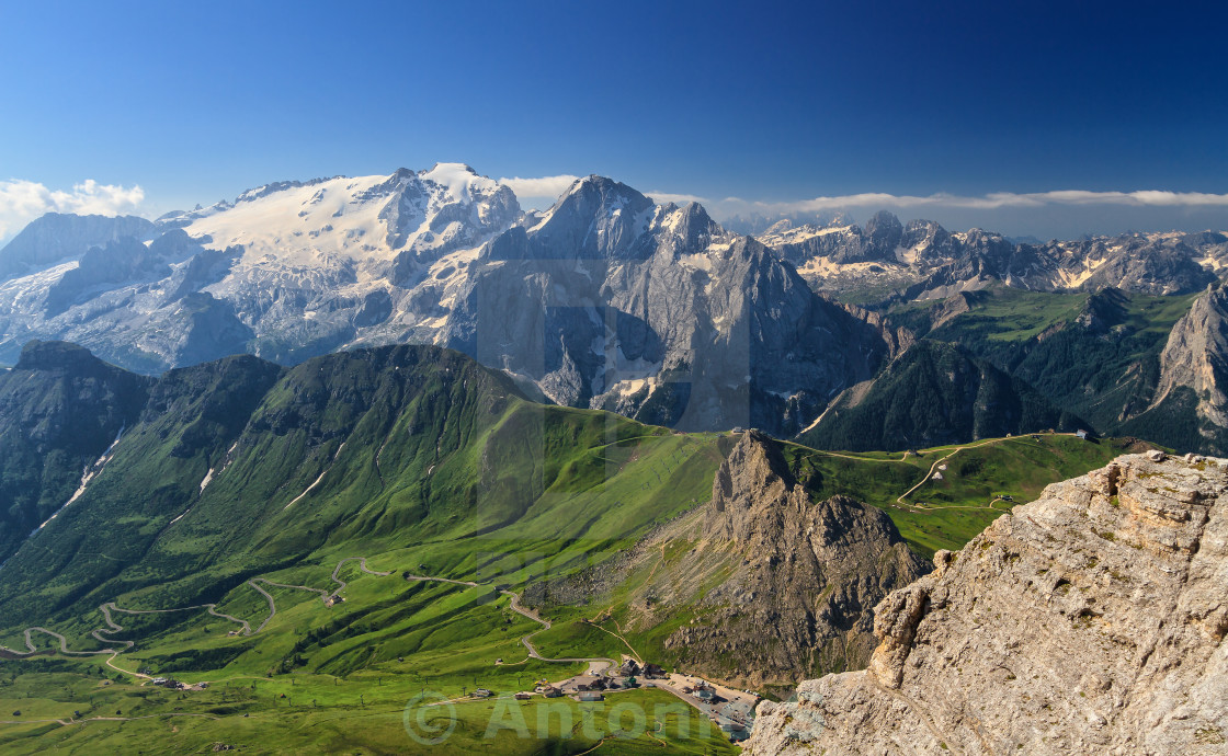 """Dolomiti - Pordoi pass and mt Marmolada"" stock image"