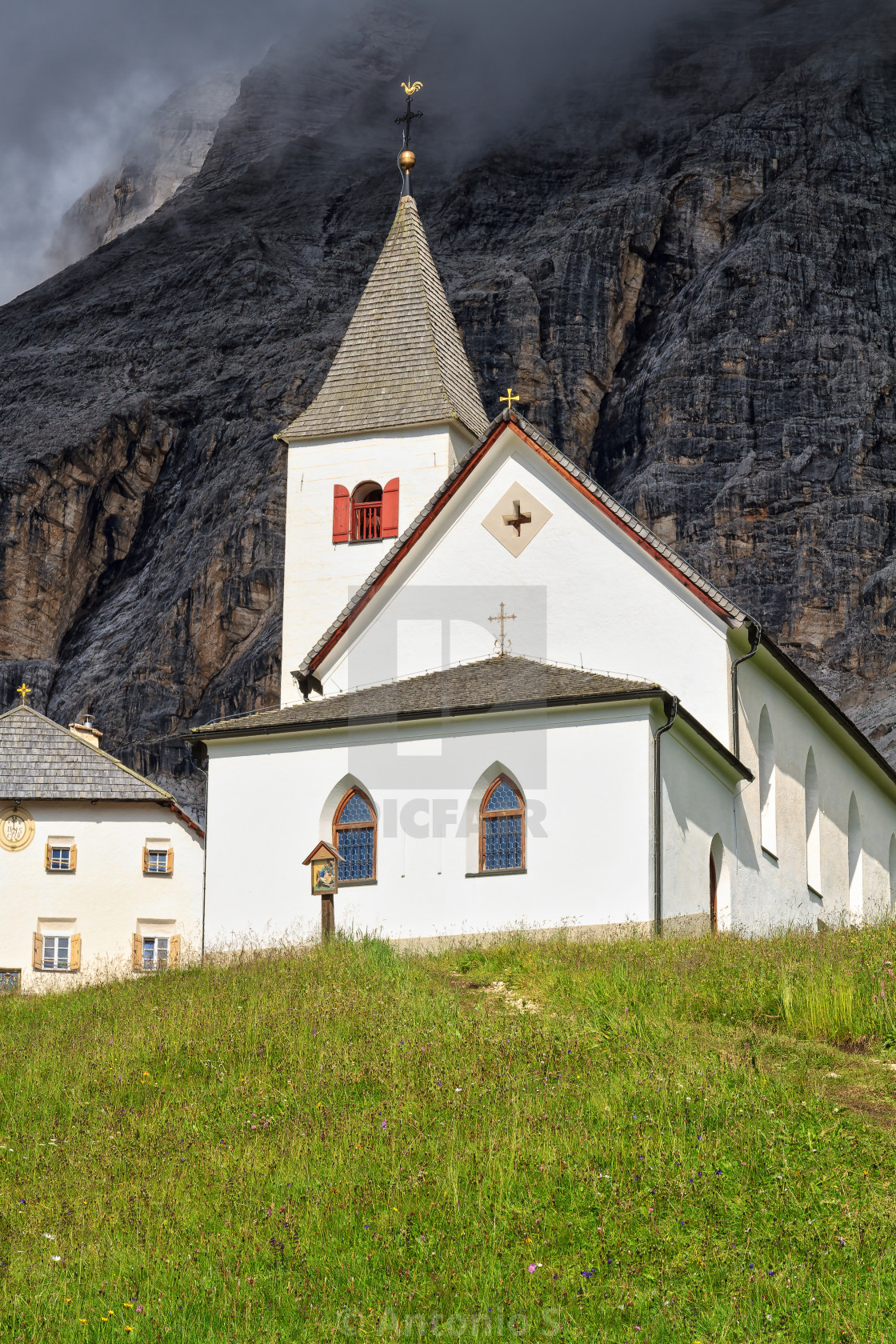 """Dolomiti - Santa Croce church"" stock image"