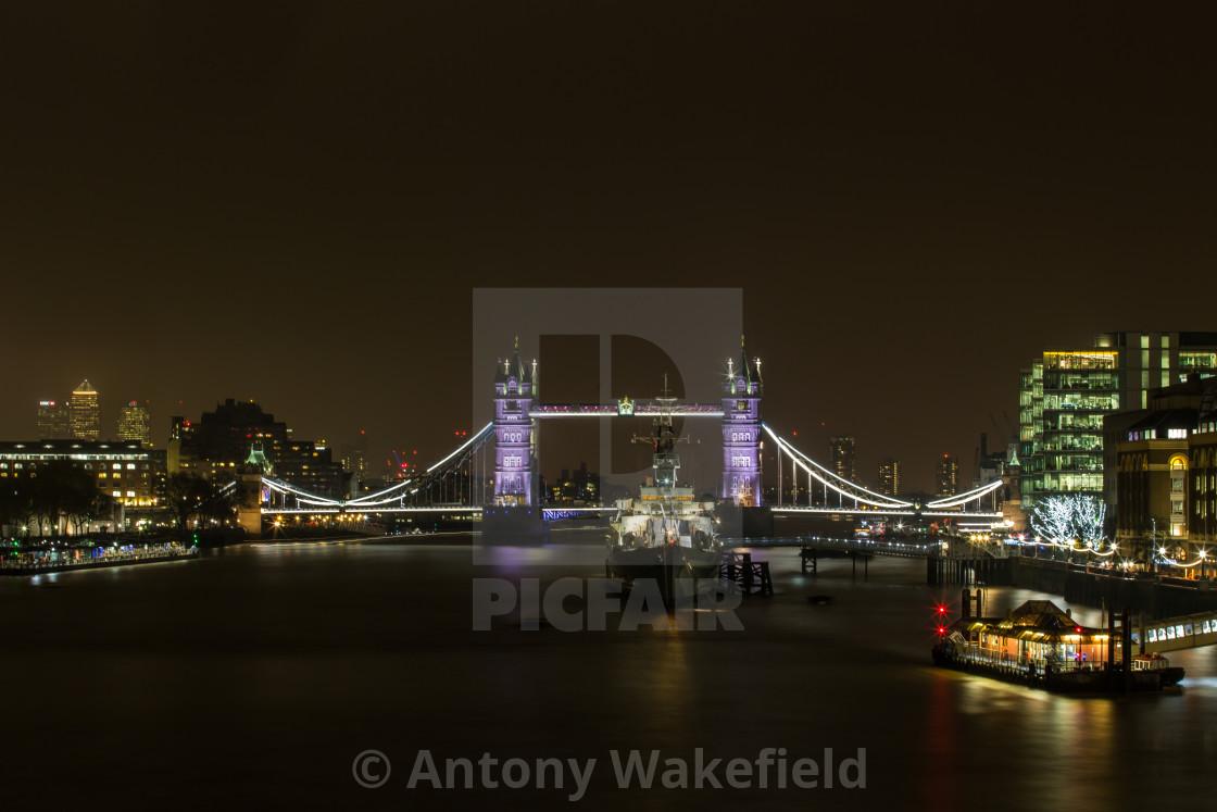 """HMS Belfast & Tower Bridge"" stock image"