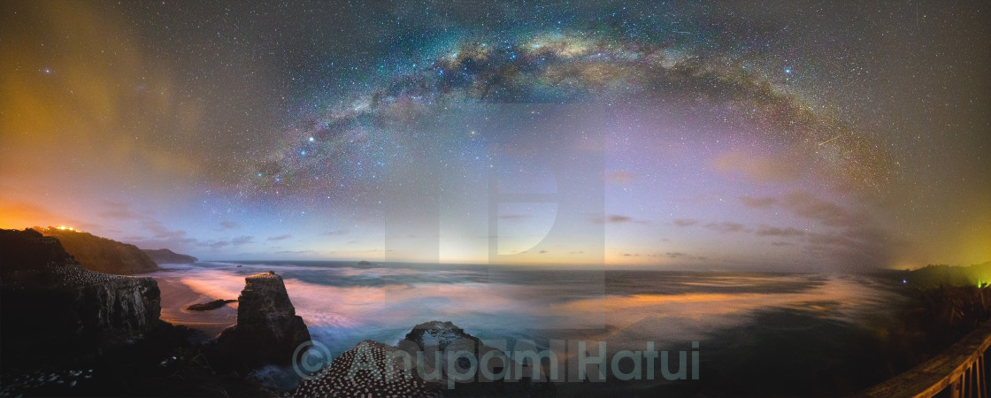 """Galactic Core over Muriwai"" stock image"