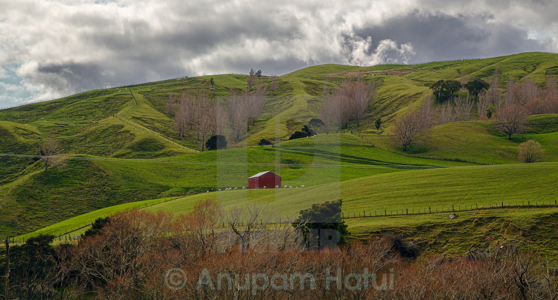 """Red hut in the lap of mother nature ......"" stock image"