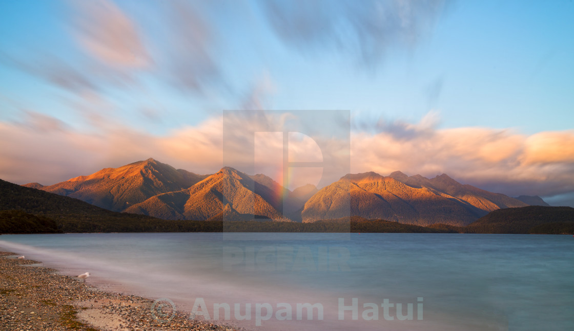 """Dawn at Lake Manapouri New Zealand"" stock image"