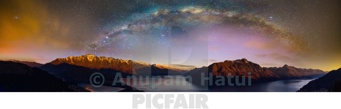 """Galactic Kiwi over Queenstown"" stock image"