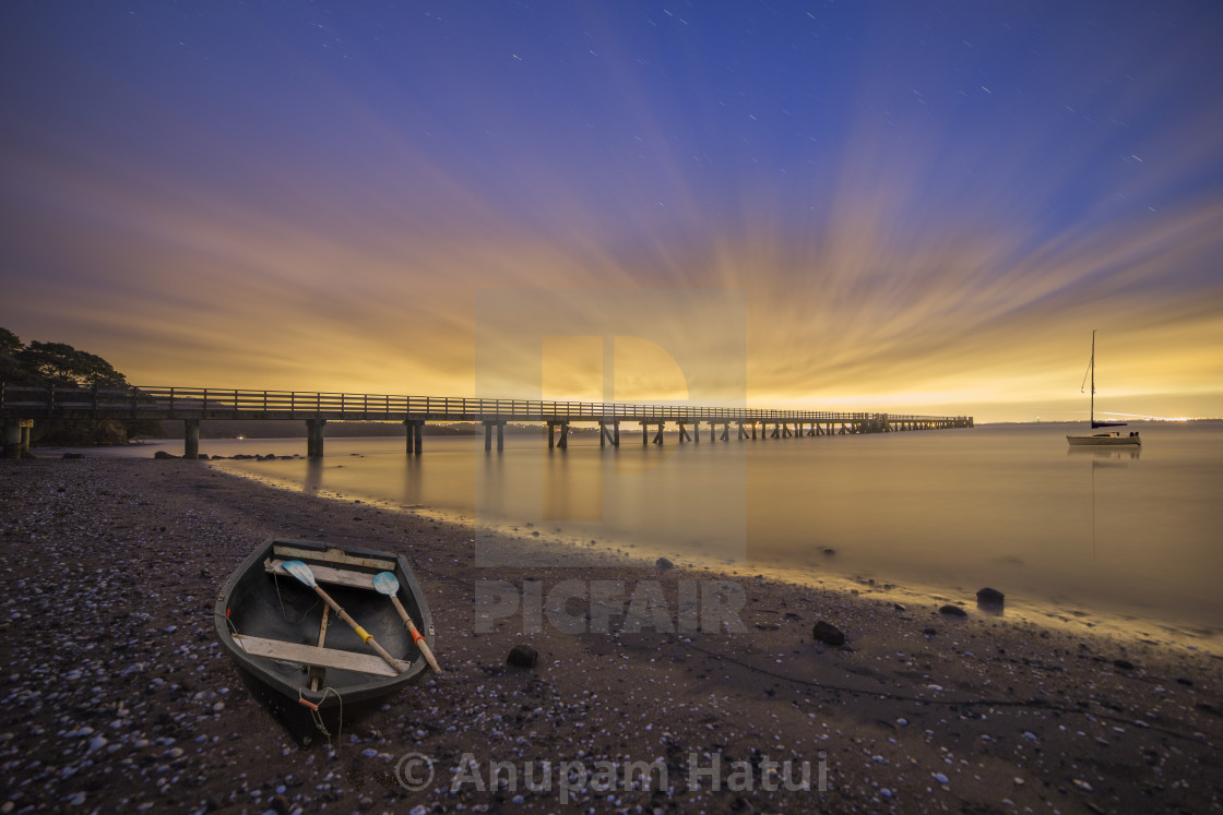 """Night at Cornwallis Wharf, New Zealand"" stock image"