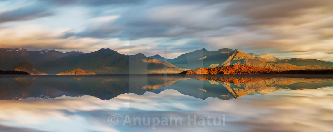 """""""Lake Manapouri, Fiordland"""" stock image"""