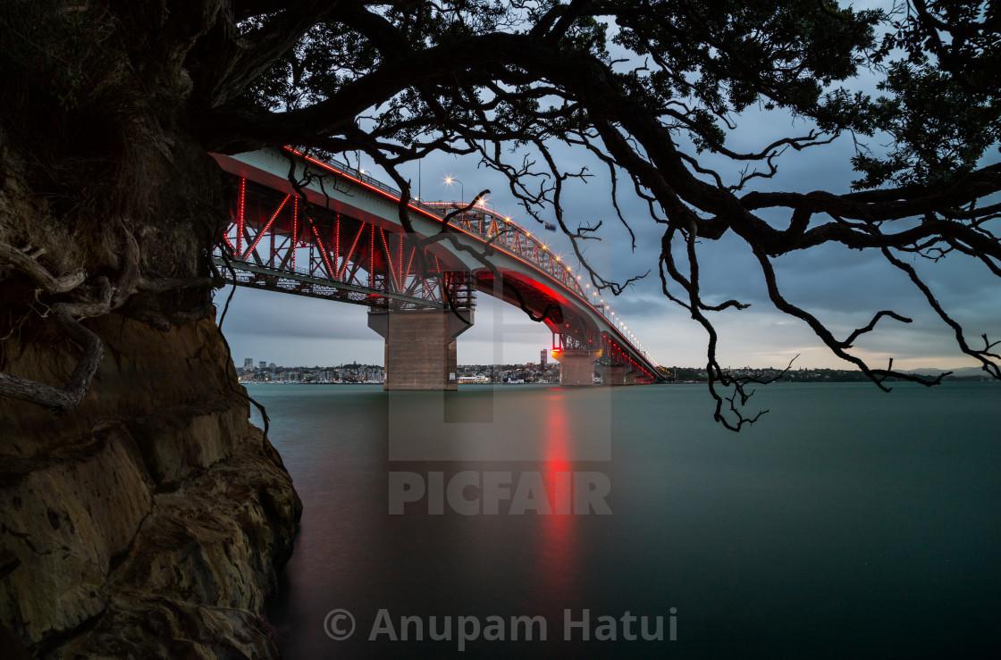 """Auckland Harbor bridge, New Zealand"" stock image"