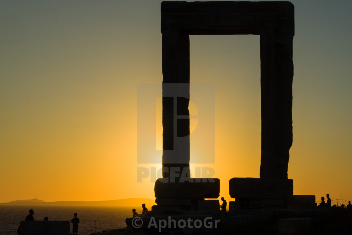 """Sunset at Naxian Temple of Apollon"" stock image"