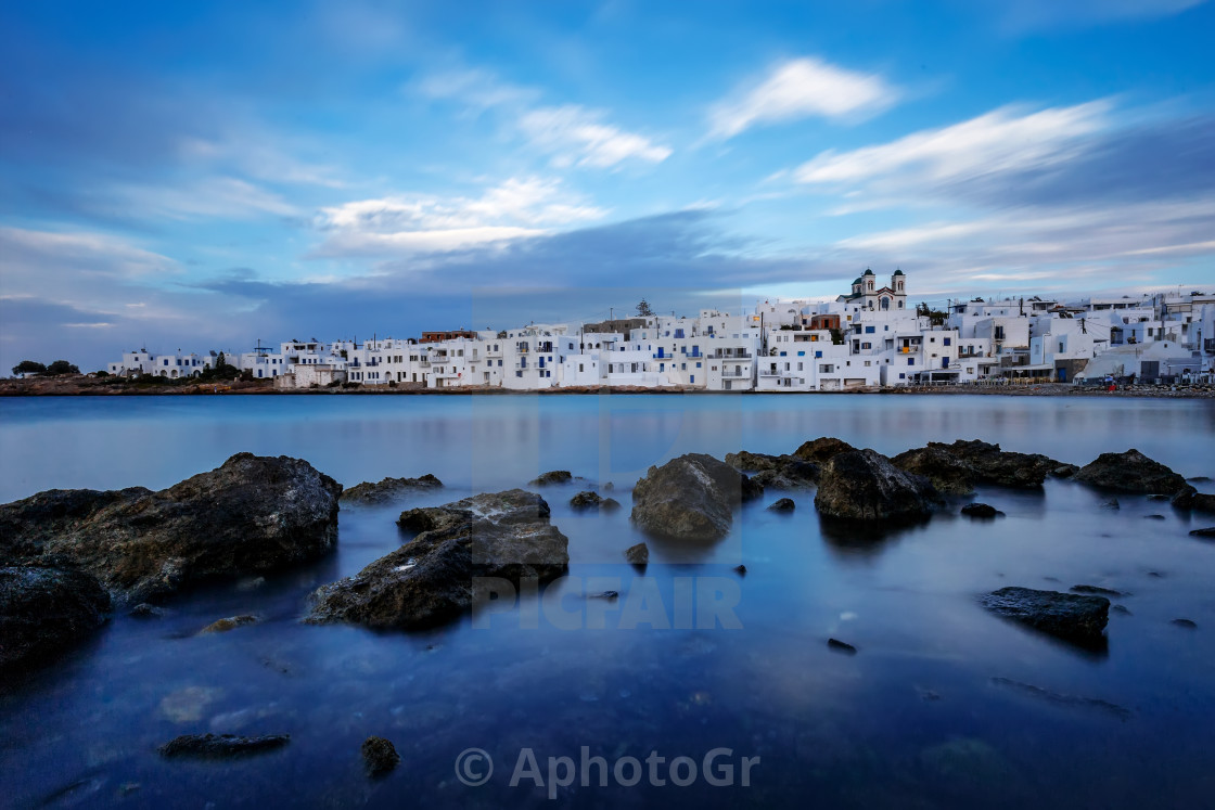 """Naousa The traditional fishing Village of Paros Island"" stock image"
