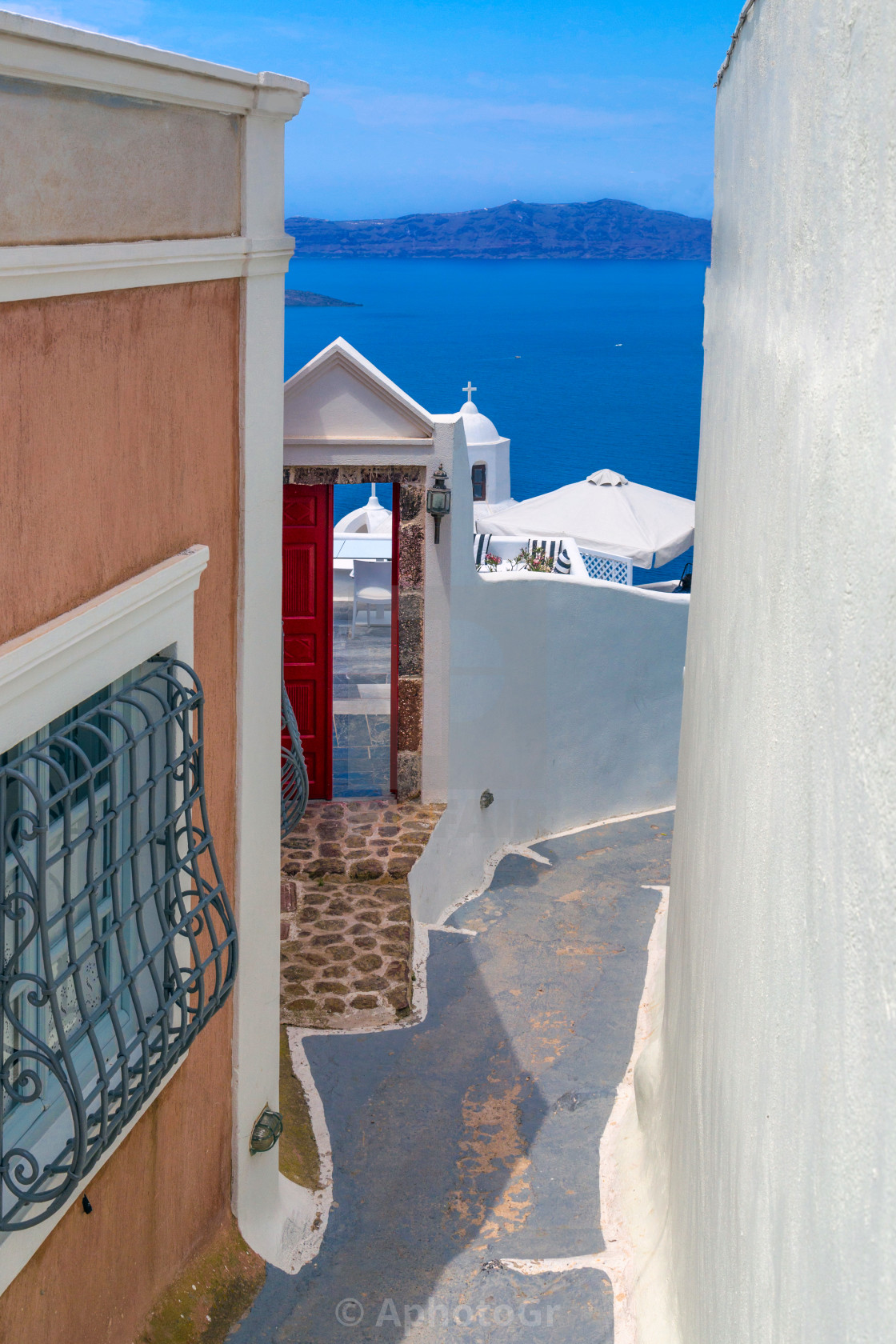 """Lanes at santorini"" stock image"