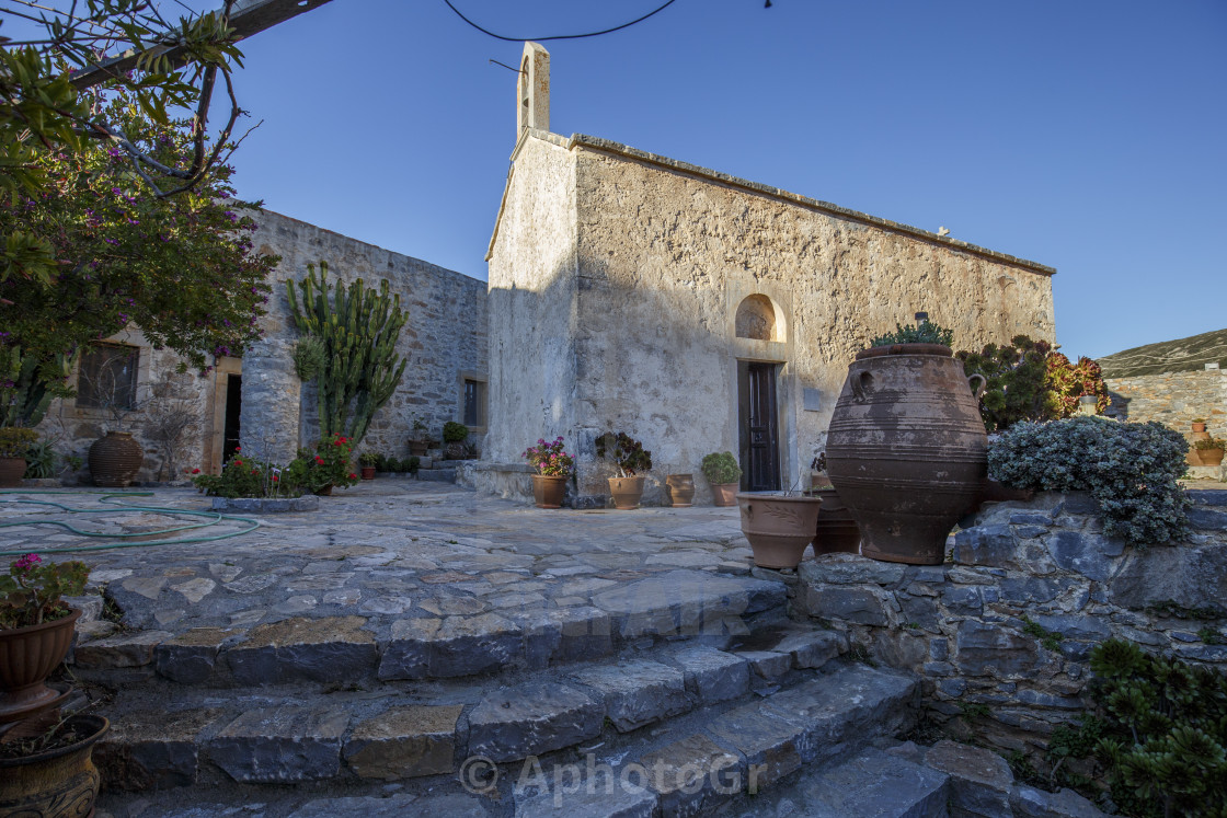 """""""Old typical byzantine church at Crete Island"""" stock image"""