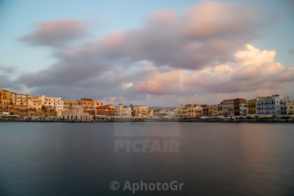 """Chania city old port and buildings"" stock image"