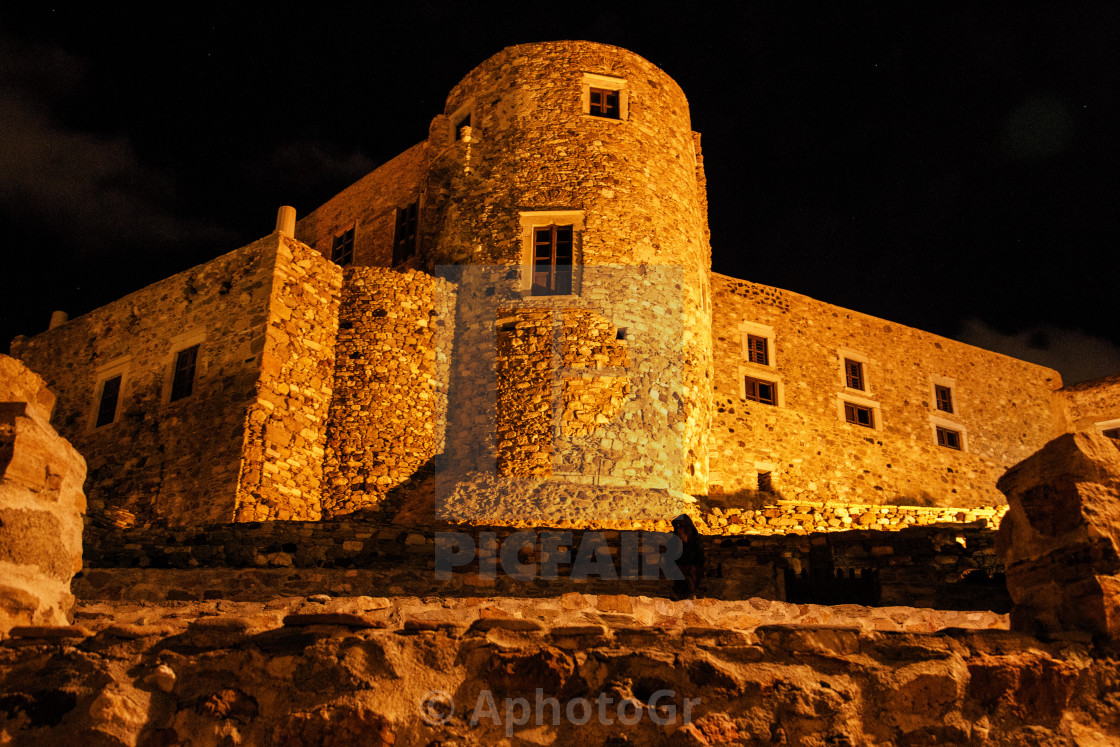 """Tower of Glezos at Night - Naxos Island"" stock image"