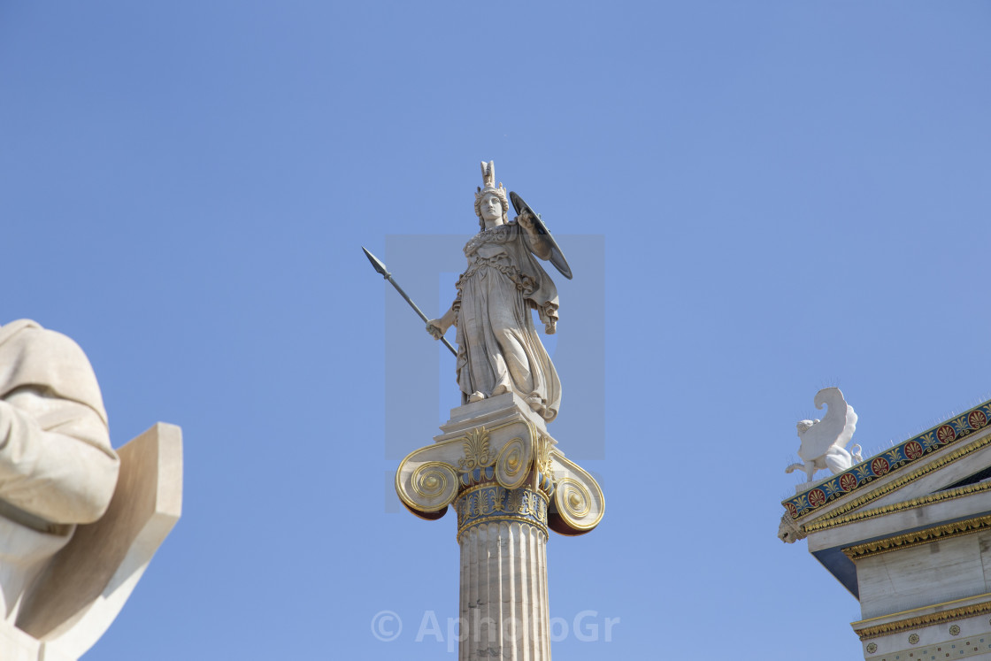 """Statue of Athena Goddess at the Academy of Athens Greece"" stock image"