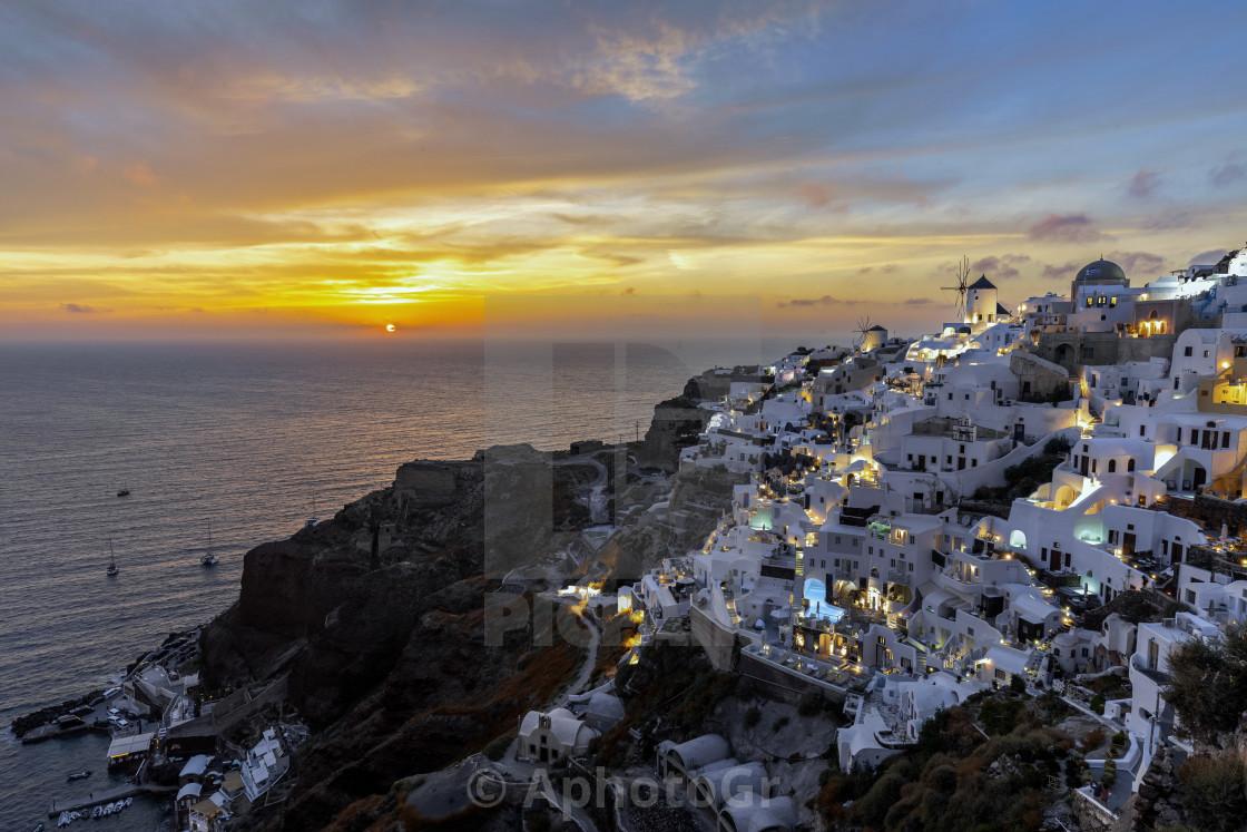 """Sunset at Oia - Santorini Greece"" stock image"