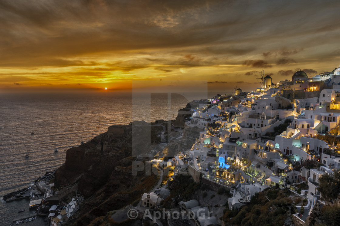 """Sunset at Oia - Santorini Island Greece"" stock image"