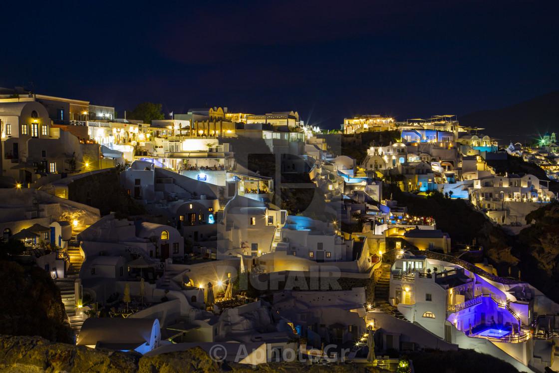 """""""Oia Night view"""" stock image"""
