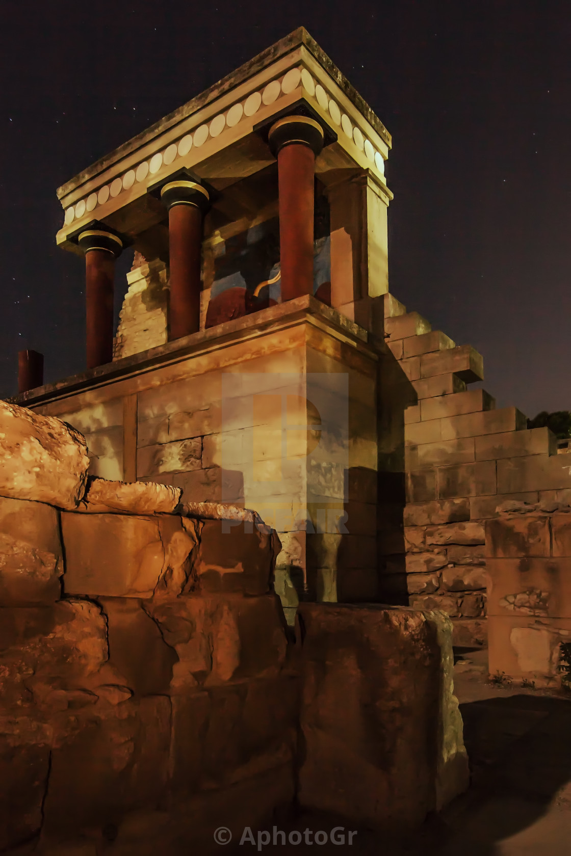 """Knossos Palace at Moonlight"" stock image"