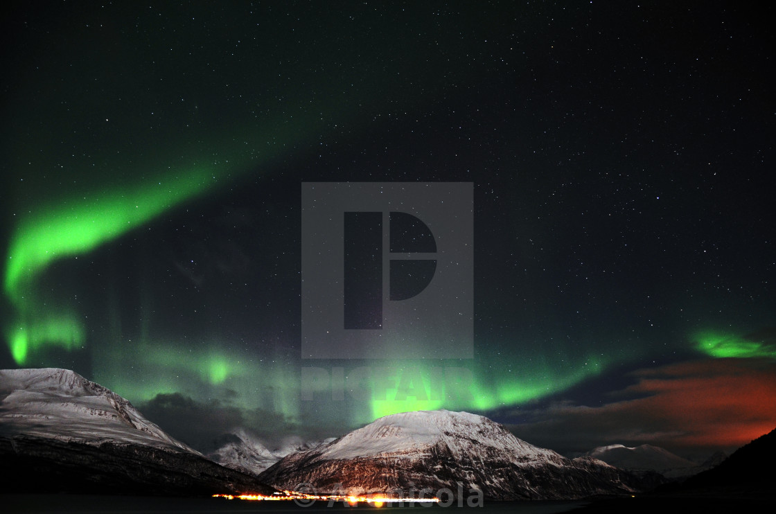 """Northern Lights-Ring of Green"" stock image"